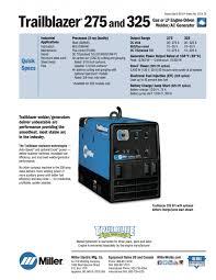 miller trailblazer 325 diesel welder generator 907566001 trailblazer specs