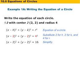 example 1a writing the equation of a circle write the equation of each circle