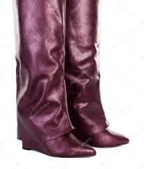 purple leather pants and shoes stock photo