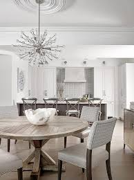 transitional dining room sets new round trestle reclaimed wood dining table with gray plaid chairs