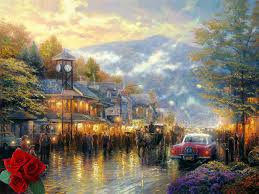 thomas kinkade cityscape mountain memories hd art print fade resistant famous paintings reproduction on canvas home on famous paintings wall art with thomas kinkade cityscape mountain memories hd art print fade