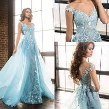 Light Blue Prom Dresses 2018 2019 New Light Blue Elie Saab Overskirts Prom Dresses Arabic Mermaid Sheer Jewel Lace Applique Beads Tulle Formal Evening Party Gowns Long Dresses Uk