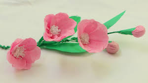 Making Flower Using Crepe Paper How To Make Origami Paper Flowers With Using Crepe Paper Youtube