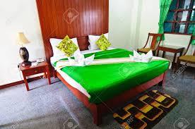 Grünes Schlafzimmer Bereit Für Die Gäste Grünen Decke Lizenzfreie