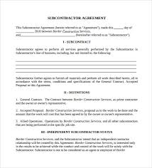 Independent Contractor Agreement Template General Contractor Subcontractor Agreement Rome Fontanacountryinn Com