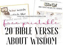 Download the pdf file with these free printable bible verse cards to help you family start to memorize god's word together. Free Printable Bible Verses For Kids About Wisdom Printables And Inspirations