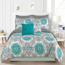 crest home sunrise queen size bedding comforter 7 piece bed set teal blue and gray