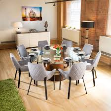sentinel large round glass top walnut dining table 8 light grey chairs