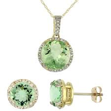 10k yellow gold natural round green amethyst earrings pendant set diamond accents