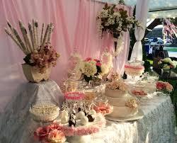 excellent white scheme wedding reception table design ideas with sweet pink roses hydrangeas featured dessert party