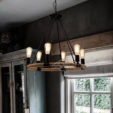 contemporary 6 light 25 wide rope chandelier
