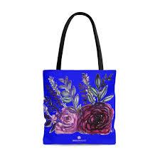 French Designer Tote Bags Rin Blue French Rose Flower Floral Print Flower Designer
