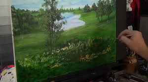 acrylic landscape painting lesson morning in lake