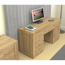 atlas chunky oak hidden home. atlas chunky oak twin pedestal office desk hidden home