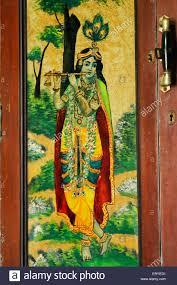 heritage glass painting of lord krishna on door of wooden almira mota devalia district amreli saurashtra