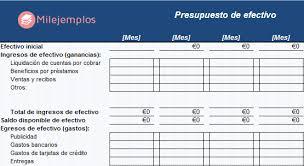 Ejemplo De Presupuesto De Efectivo Presupuesto De Caja