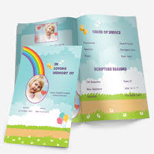 Child Funeral Program Template Rainbow Funeral Pamphlets 4
