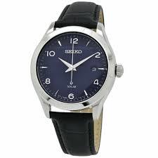 seiko men s sne491 essentials black leather watch