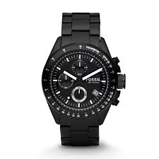 decker chronograph black stainless steel watch fossil decker chronograph black stainless steel watch