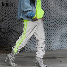 Pants In 2019 Auyiufar Baggy Reflective Neon Strip Cargo Pants In A Cage Women Elastic High Waist Wide Trousers Pantalones Pants Ladies From Laftfly 24 82