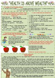 english teaching worksheets health  health is above wealth different activities connected topic health level intermediate age 11 17 s 232