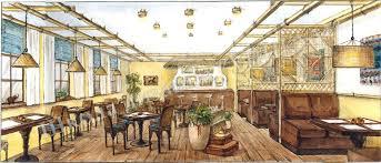 Курс Дизайн интерьеров й уровень Школа Дизайна УНИКУМ Эскиз кафе в этническом стиле Ильина Ирина