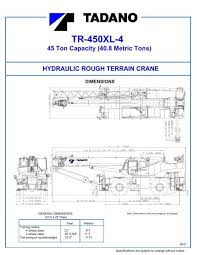 Tadano 40 Ton Crane Load Chart Tr 450xl 4 Rated Lifting Capacities Tadano America Corporation