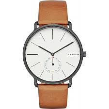 skagen mens hagen tan leather strap watch skw6216