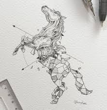 эскиз геометрической лошади рисунки татуировка лошадь эскиз