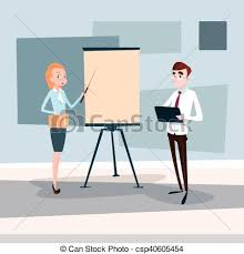 Business People Team With Flip Chart Seminar Training Conference Brainstorming Presentation