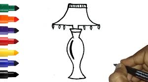 How To Draw A Table Lamp Easy Easy Night Lamp Drawing For Kids Toddlers