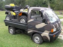 kei class mini truck rigged out for hunting site dealer offers ese mini trucks are available from alcan honda acty suzuki carry subaru sambar