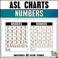 Asl American Sign Language Number Chart 0 30 2 Skin Tones