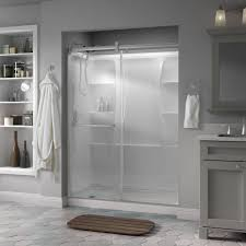 delta simplicity 60 in x 71 in semi frameless contemporary style sliding shower