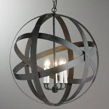 rustic metal strap globe lantern 5 light