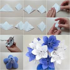 Paper Flower Folding Diy Origami Paper Flower Bouquet Diy Tutorials