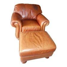 leather club distress arm chair matching ottoman