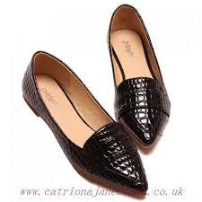 women s black flats stylish patent leather and crocodile print design flat shoes ballet flats closed toe 39vc646