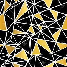 Vector Zwart Wit En Goud Folie Geometrische Mozaïek Driehoeken
