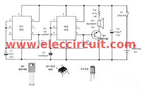 siren sound generator electronic projects circuits 555 siren sound generator circuit
