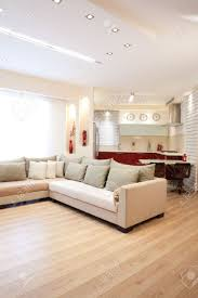 Wood Design For Living Room Modern Design Living Room And Kitchen White Red And Wood Elements