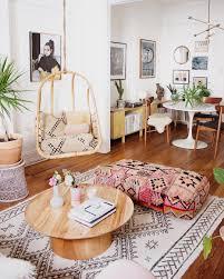 boho swingasan in bohemian living room with hanging chair via reserve home