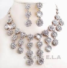 chandelier swarovski crystal necklace earrings set