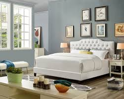 OAH D3011 Sterling white faux leather queen low-profile bed frame set