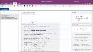 onenote math function