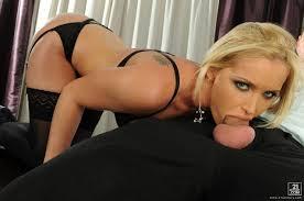 Blonde Secretary Wearing Black Lingerie in Office Image Gallery.