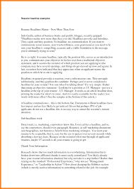Resume Headline Examples 6 Headlines For Resume Letter Setup