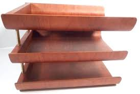 vintage modern teak wood or walnut letter tray desk organizer 3 tier danish trays uk