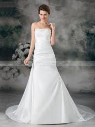 strapless taffeta beaded mermaid wedding dress with court train
