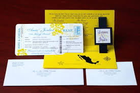 Boarding Pass Wedding Invitation Card Design Yellow Invitations To